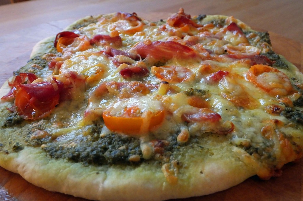 Parma ham, basil pesto pizza recipe - Pikalily Food Blog