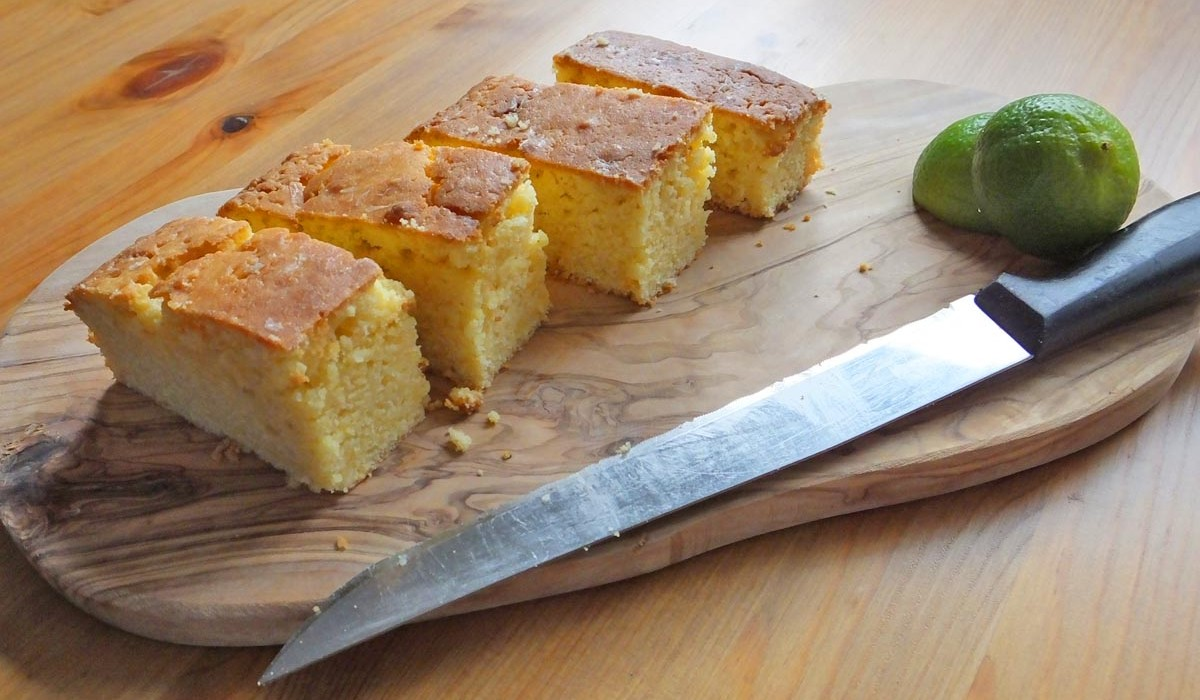 Natvia lime and passion fruit drizzle cake