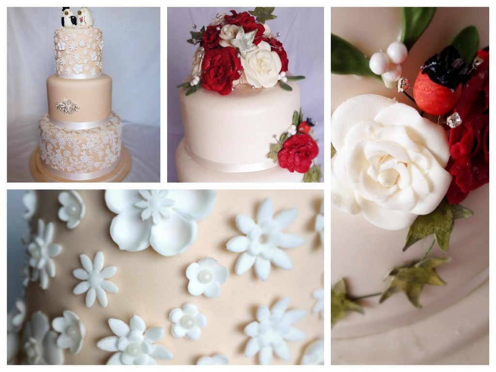 Wedding cake with handmade edible flowers - Pikalily food blog