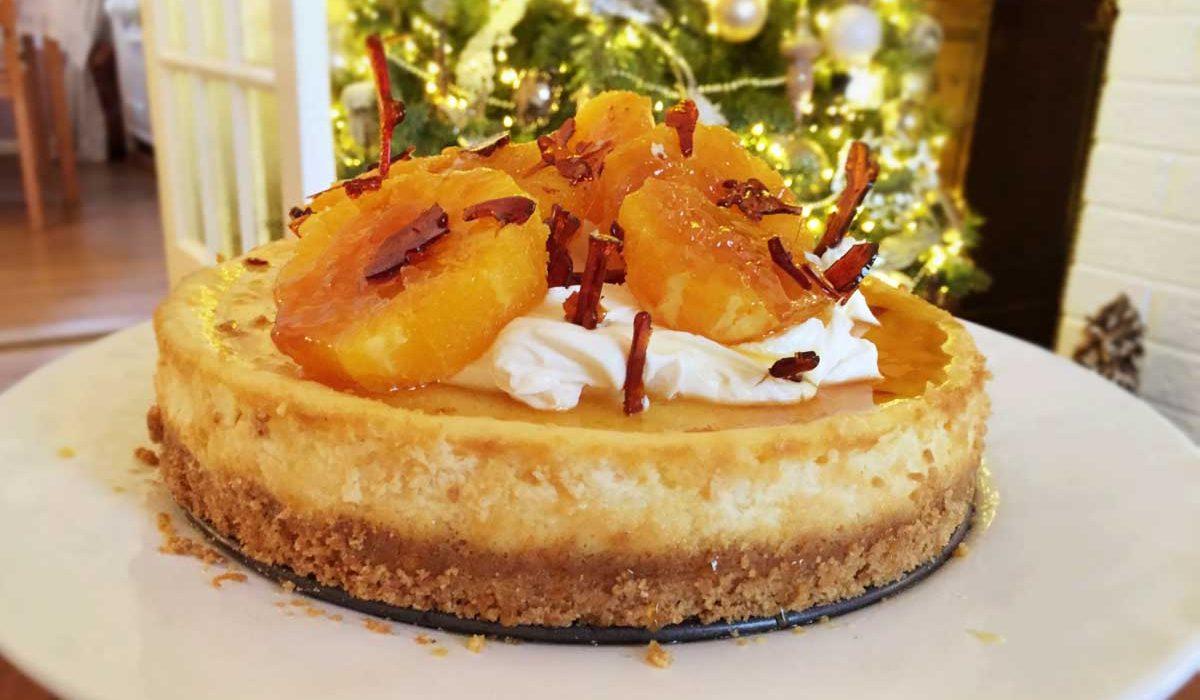 Festive Baked Orange Cheesecake with Caramelised Oranges and Mascarpone Icing