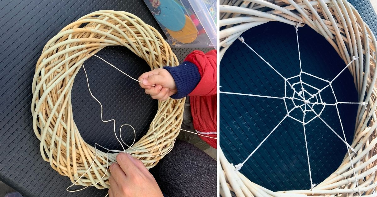 Halloween Craft Ideas - Making Spider Web Wreath - Pikalily Blog